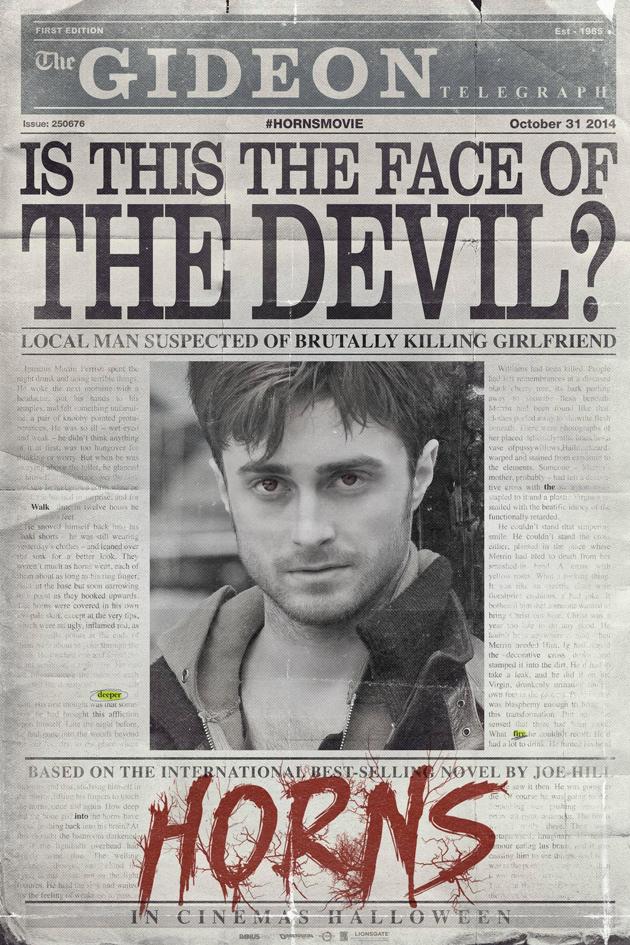 Daniel Radcliffe'nin son filmi Horns'dan ilk teaser yayınlandı.